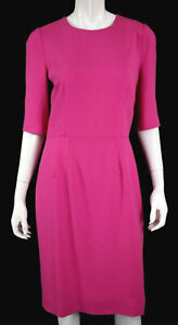 DOLCE & GABBANA Fuchsia Pink Crepe Half Sleeve Sheath Dress 48
