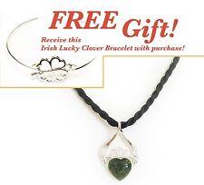 Irish Connemara Marble Claddagh Necklace on Silk Cord + Free Gift!