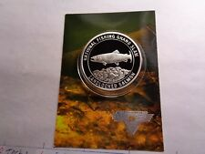 Landlocked Salmon Fish National Fishing Grand Slam 999 Silver Coin Info Card #C