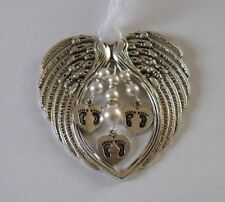 White Triple Memorial Angel Wing Christmas Ornament - Twin Baby Loss/Miscarriage