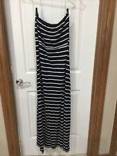 Twiggy Strapless Maxi Dress Black White Striped XL
