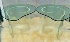 Pair Vtg Hollywood Regency Lucite Snail Spiral End Table Kidney Shaped Glass Top