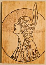 "VINTAGE 1950s HAND MADE WOOD ETCHED INDIAN PORTRAIT ART 3.5"" X 5"" -- 2706"