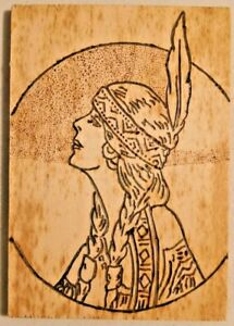 """VINTAGE 1950s HAND MADE WOOD ETCHED INDIAN PORTRAIT ART 3.5"""" X 5"""" -- 2706"""