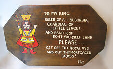 HUMOROUS Plaque Wood Sign HUSBAND BIRTHDAY FATHERS DAY MAN CAVE~TO MY KING RULER