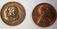 1709-1790 Ben Franklin Souvenir Bronze Circulated Memorial Medal
