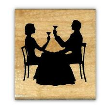 Couple Dining Silhouette mounted rubber stamp, Paris, New Year's Eve #22