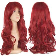 28'' Gorgeous Ladies Long Wavy Curly Fancy Dress Human Hair Full Wigs + Free Cap