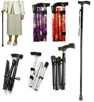 Folding Walking Stick Aluminium Light Weight Support Aid Cane Easy Adjust Pole