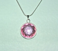 SIMPLE ROUND FACETED PINK ACRYLIC CRYSTAL PENDANT SILVER PL MOUNT & ROUND CHAIN