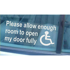 Allow Enough Room To Open Door Fully-Disabled Car Window Sticker-Disability Sign