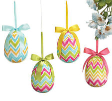 Easter Egg Ornaments Set of 4 Bows to Hang Flamestitch Chevron Spring Small Size