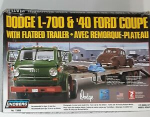 Lindberg Dodge L-700 &'40 Ford Coupe 1/25 model #73068 **Used Open Box**