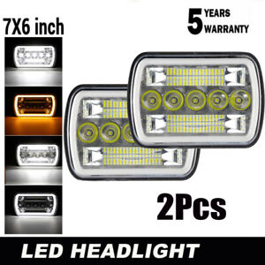 """7x6"""" 5x7""""Inch LED Headlight Projector Chrome Lamp For GMC Chevy Chevrolet Toyota"""