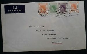 RARE 1962 Hong Kong Cover ties 4 QE2 stamps to Melbourne Australia
