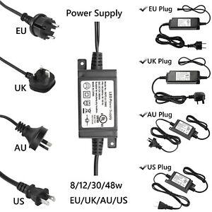 8/12/30/48W LED Driver Power Supply Constant Transformer 12V US/EU/AU/UK Plug