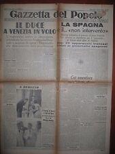 GAZZETTA DEL POPOLO  5/8/1936   Il Duca a Venezia in volo