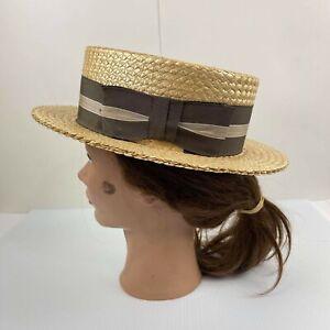 Stetson Vintage Straw Boater Hat Size 7 50s VTG Rare Hat
