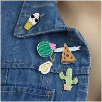 5pcs Cartoon Collar Pin Badge Corsage Cactus Pear Enamel Brooch Set Jewelry Hot