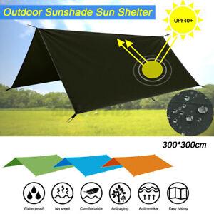 3*3M Waterproof Tent Tarp Rain Sun Shade Hammock Shelter Camping Picnic Mat UK