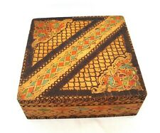 Vintage wood pyrography jewelry box Hand painted Balkan folk art 50s