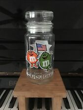 M&Ms 1984 Olympic Candies Jar Glass - Sealing Lid - pictures of Games Orange
