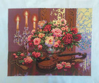 """New Completed finished cross stitch""""VIOLIN TABLE""""home decor gift"""
