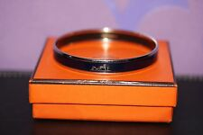 HERMES Bangle Narrow Caleche Logos Bracelet Navy Enamel/Silvertone Year +D 70mm!