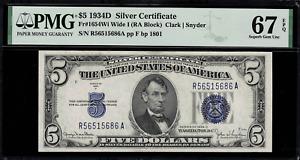 1934D $5 Silver Certificate FR-1654 Wide I - Graded PMG 67 EPQ - Superb Gem Unc.