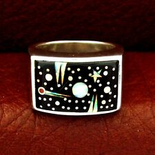 Calvin Begay Sterling Silver Night Sky Men's Ring Size 10 --- R84 D T
