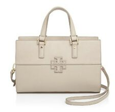 $475 Tory Burch Stacked-T Mixed Material Leather Satchel in Clay