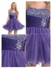 UK Stock New Short Formal Bead Prom Party Cocktail Gown Evening Bridesmaid Dress
