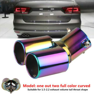63MM Car Modified Dual Exhaust Tail Throat Muffler Tip Pipe Stainless Steel Part