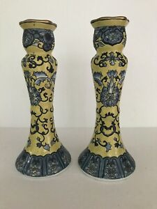 Antique China Porcelain Candle Holder. Blue/Yellow. Floral Pattern. Used.