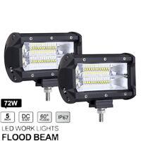 12/24V 2x 5 Inch 72W Aluminium 24 LED Work Light Bar Flood Driving Lamp  For SUV