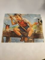 Vintage poster Little Nibble fishing Boy with dog Litho Poster USA