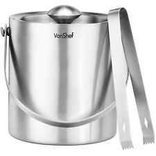 VonShef 2L Double Walled Insulated Stainless Steel Ice Bucket with Lid