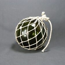 Antique French Blown Glass Buoy Float Ball Globe Round Sphere Huge Green wth Net
