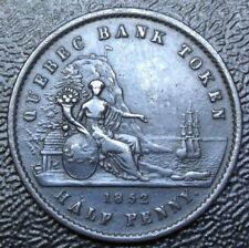 1852  CANADA HALF PENNY BANK TOKEN - UN SOU -COPPER - Quebec Bank - Br529  PC-3