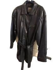 Azia Collection Mens Leather Jacket Black XL Zip Snap Front Belt Tie Soft