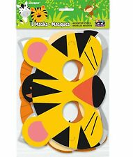 8 X Animal Jungle Party Masks Children Birthday