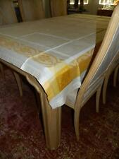 Antique Irish Linen Damask Table Cloth Bisque w/Gold Border & 12 Napkins 80 X 62
