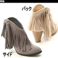 New Women Tassel Round Toe High Chunky Ankle Boots Suede Western Shoes Fashion