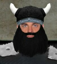 Beard Head Viking hat with Black Beard and White Horns Knit Removable Beard