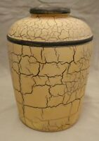 """Large Tan Pottery Vase w/Dark Brown Crackle-like Finish- Size: 10""""H (3.25"""" D)"""