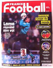 France Football du 10/3/1998; Lama/ Jacquet/ Le journal de la coupe du monde