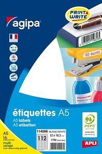 [Ref:114006] AGIPA Etui A5 ( 16F ) de 1792 étiquettes multi-usage Permanentes