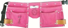 10 Pocket Suede Leather Kids Pink Tool Pouch Bag Belt