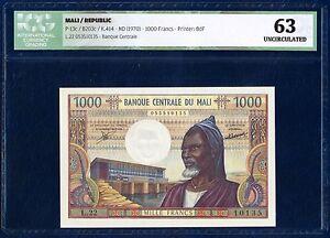 MALI 1000 FRANCS PICK 13c 1970 ICG 63 UNCIRCULATED