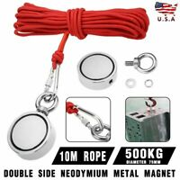 500KG Double Side Magnet Detector Fishing Hunter Kit with 10M Rope Durable US